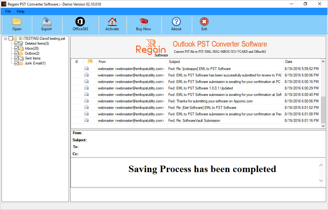 successfully convert Outlook PST file